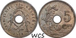Belgium 5 Centimes 1914 BELGIË KM#67 XF