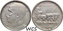 Italy 50 Centesimi 1925 KM#61.2 F