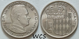 Monaco 1 Franc 1977 KM#140 XF+