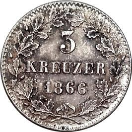 Baden 3 Kreuzer 1866 Friedrich I KM#266 VF