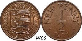 Guernsey ½ New Penny 1971 KM#20 XF+