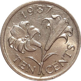 Bermuda 10 Cents 1986-1998 KM#46