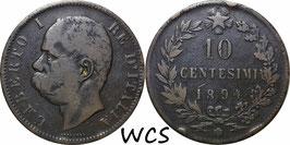 Italy 10 Centesimi 1894 BI KM#27.1 F-