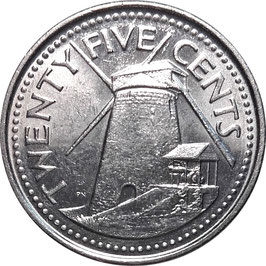 Barbados 25 Cents 2007-2011 KM#13a
