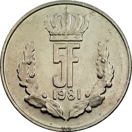 Luxembourg 5 Francs 1971-1981 KM#56