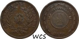 Paraguay 2 Centesimos 1870 KM#3 F