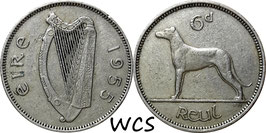 Ireland 6 Pence 1955 KM#13a VF