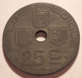 Belgium 25 Centimes 1942-1946 BELGIE - BELGIQUE (German Occupation) KM#132