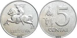 Lithuania 5 Centas 1991 KM#87