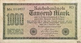 Germany 1000 Mark 15.09.1922 Ro 75n Printer: RD