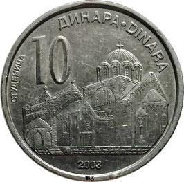 Serbia 10 Dinara 2003 KM#37 VF