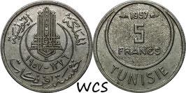 Tunisia 5 Francs 1954-1957 KM#277
