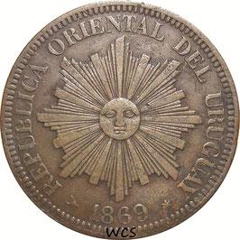 Uruguay 4 Centesimos 1869 H KM#13 VF- (2)