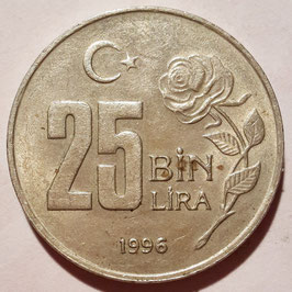 Turkey 25.000 Lira 1995-2000 KM#1041