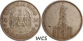 Germany - Third Reich 5 Reichsmark 1934 J KM#83 VF- - 1st Anniversary of Nazi Rule - Potsdam Garrison Church