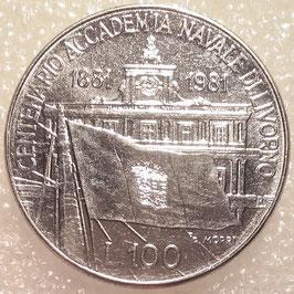 Italy 100 Lire 1981 KM# 108 - 100th Anniversary - Livorno Naval Academy