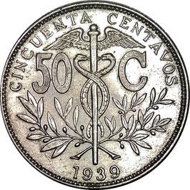 Bolivia 50 Centavos 1939 KM#182 VF+