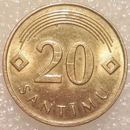 Latvia 20 Santimu 1992-2009 KM#22.1