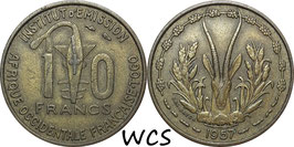 French West Africa and Togo 10 Francs 1957 KM#8 VF
