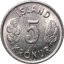 Iceland 5 Kronur 1969-1980 KM#18