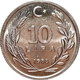 Turkey 10 Lira 1984-1989 KM#964