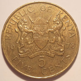Kenya 5 Cents 1969-1978 KM#10