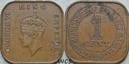 Malaya 1 Cent 1940 KM#2 VF