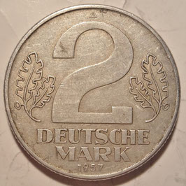 GDR 2 Mark 1957 KM#14 VF
