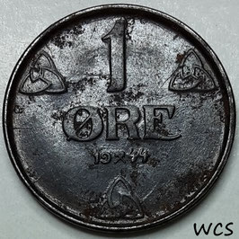 Norway (WWII German Occupation) 1 Øre 1944 UNC (corrosion) - (3)