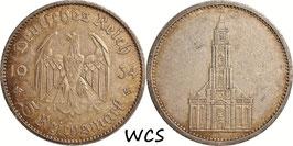 Germany - Third Reich 5 Reichsmark 1934 A KM#83 VF - 1st Anniversary of Nazi Rule - Potsdam Garrison Church (1)