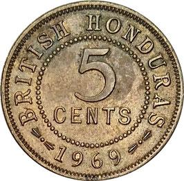British Honduras 5 Cents 1969 KM#31 VF