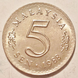 Malaysia 5 Sen 1967-1988 KM#2