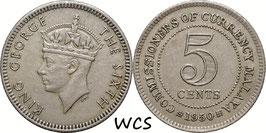 Malaya 5 Cents 1950 KM#7 VF