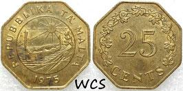 Malta 25 Cents 1975 - 1st Anniversary of Republic of Malta KM#29 VF+