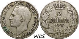 Yugoslavia 2 Dinar 1925 KM#6