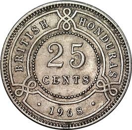 British Honduras 25 Cents 1968 KM#29 VF