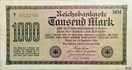 Germany 1000 Mark 15.09.1922 Ro 75f Printer: MM