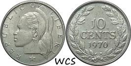 Liberia 10 Cents 1970 KM#15a.2 XF