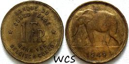 Belgian Congo 1 Franc 1949 KM#26 VF
