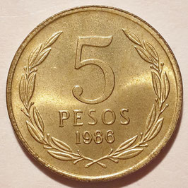 Chile 5 Pesos 1981-1987 Wide Date KM#217.1