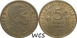 Guinea 5 Francs 1959 KM#1 XF-