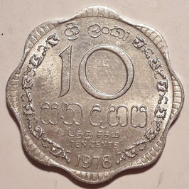 Sri Lanka 10 Cents 1978-1991 KM#140a