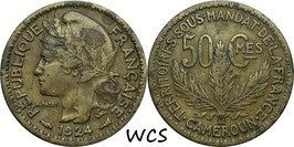 Cameroon (French Mandate) 50 Centimes 1924 KM#1 F