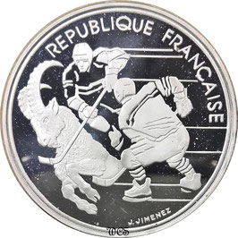 France 100 Francs 1991 Winter Olympic Games bAlbertville 1992 - Hockey KM#993 Proof