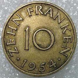 Saarland 10 Franken 1954 KM#1 VF