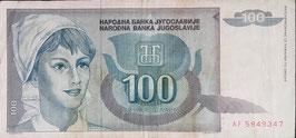 Yugoslavia 100 Dinara 1992 P.112 F