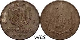 Serbia 1 Dinar 1942 KM#31