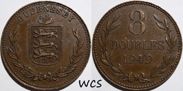 Guernsey 8 Doubles 1949 H KM#14 VF+
