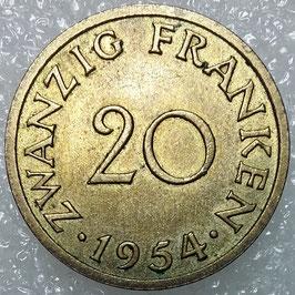 Saarland 20 Franken 1954 KM#1 VF (2)