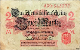 Germany 2 Mark 12.08.1914 Ro 52b VG